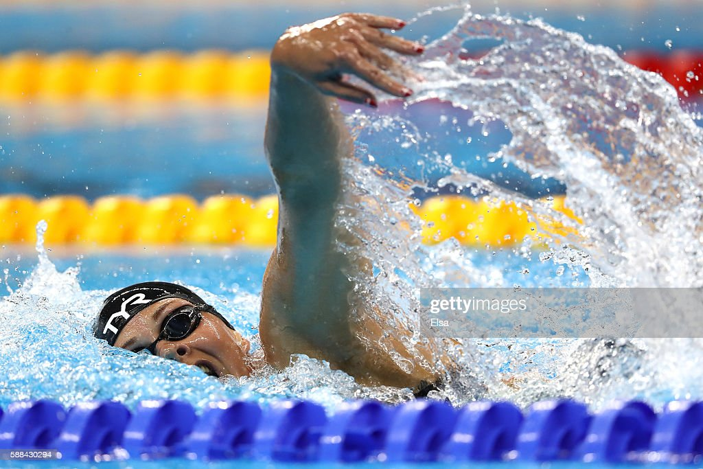 Lotte Friis of Denmark competes in the Women's 800m Freestyle heat on Day 6 of the Rio 2016 Olympic Games at the Olympic Aquatics Stadium on August...