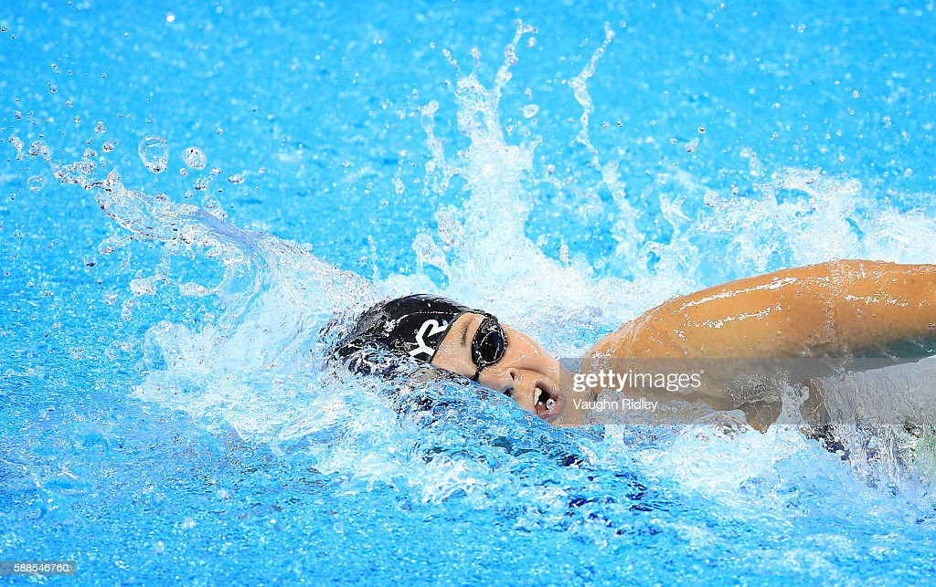 Lotte Friis of Denmark competes in the Women's 800m Freestyle Heats on Day 6 of the Rio 2016 Olympic Games at the Olympic Aquatics Stadium on August...