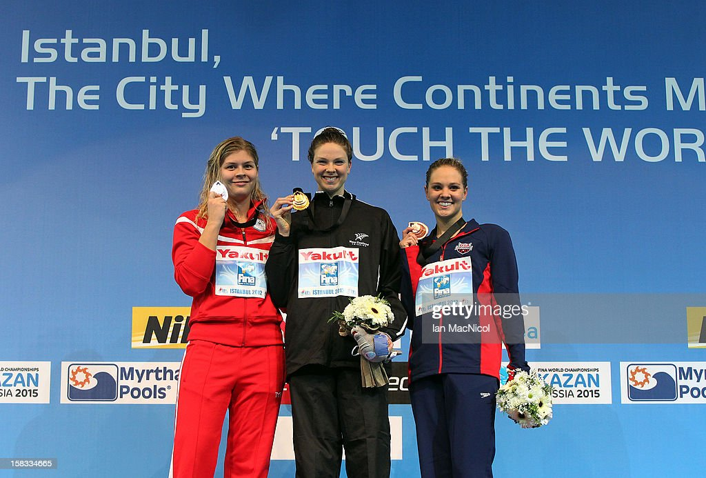 Lotte Friis of Denmark, Lauren Boyle of New Zealand and Chloe Sutton of USA pose with their medels from the Women's 800m Freestyle during day two of the FINA World Short Course Swimming Championships on December 13, 2012 in Istanbul, Turkey.