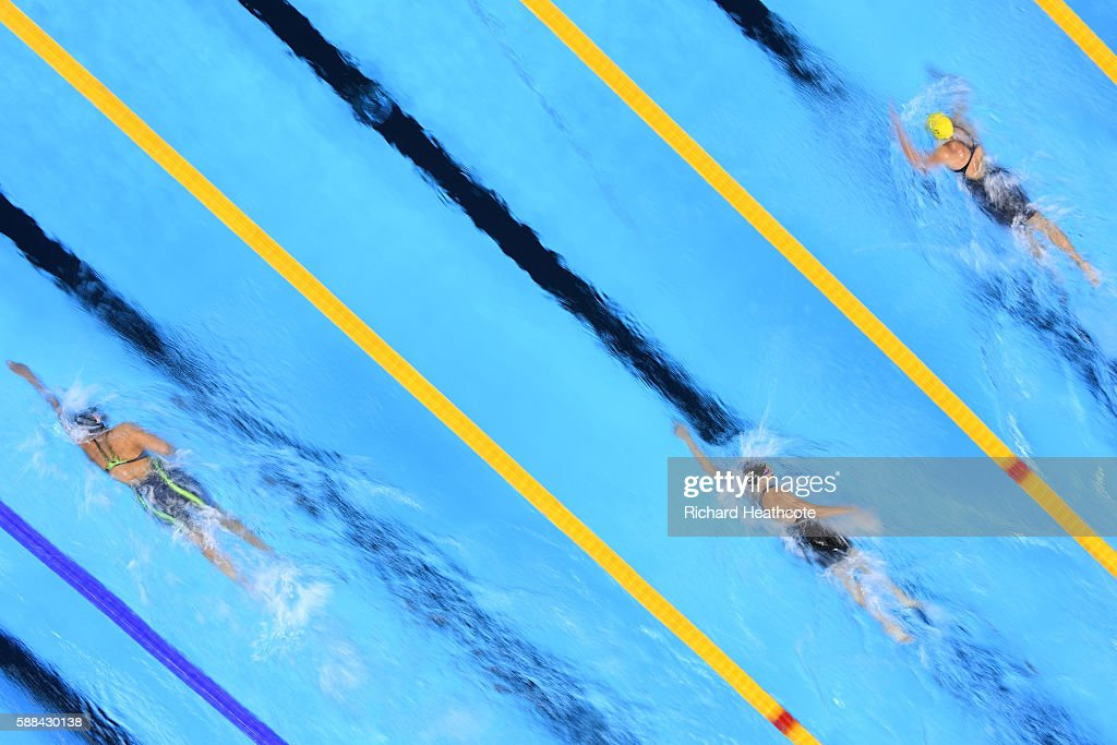 Lotte Friis of Denmark Lauren Boyle of New Zealand and Jessica Ashwood of Australia compete in the Women's 800m Freestyle heat on Day 6 of the Rio...