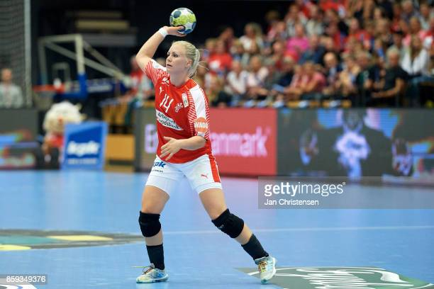 Lotte Grigel of Denmark in action during the EHF EURO 2018 qualification match between Denmark and Slovenia in Farum Arena on September 27 2017 in...