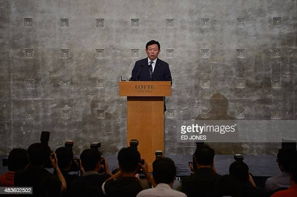 Lotte group chairman Shin DongBin speaks during a press conference at the Lotte hotel in Seoul on August 11 2015 The head of South Korea's retail and...