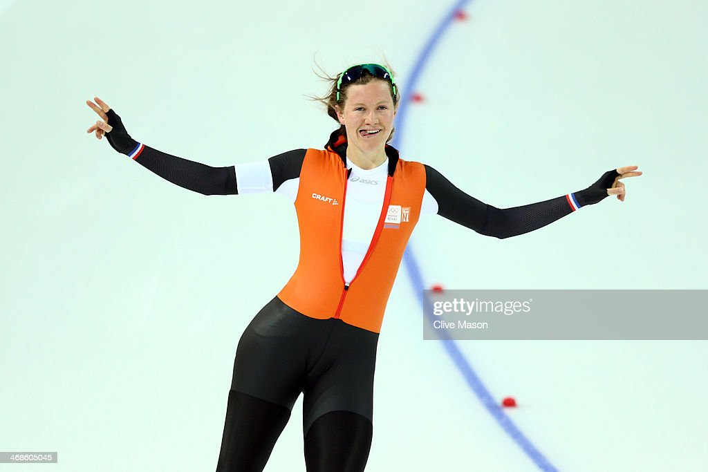 <a gi-track='captionPersonalityLinkClicked' href=/galleries/search?phrase=Lotte+van+Beek&family=editorial&specificpeople=9989212 ng-click='$event.stopPropagation()'>Lotte van Beek</a> of the Netherlands reacts after competing during the Women's 500m Race 1 of 2 Speed Skating event during day 4 of the Sochi 2014 Winter Olympics at Adler Arena Skating Center on February 11, 2014 in Sochi, Russia.