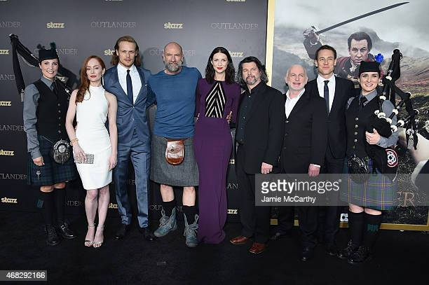 Lotte Verbeek Sam Heughan Graham McTavish Caitriona Balfe Ronald D Moore Gary Lewis and Tobias Menzies attend the 'Outlander' midseason New York...