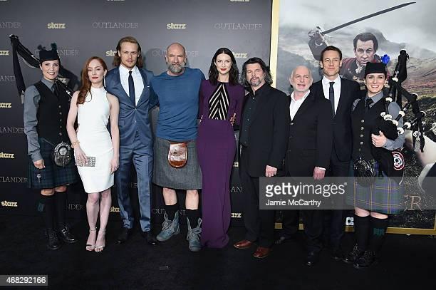 Lotte Verbeek Sam Heughan Graham McTavish Caitriona Balfe Ronald D Moore Gary Lewis and Tobias Menzies attend the 'Outlander' midseason New York...