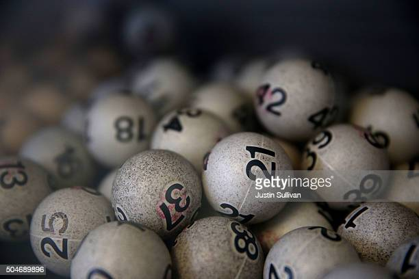 Lottery balls are seen in a box at Kavanagh Liquors on January 12 2015 in San Lorenzo California Dozens of people lined up outside of Kavanagh...