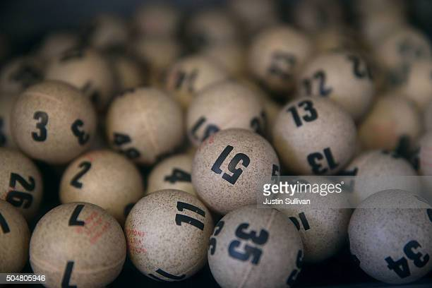 Lottery balls are seen in a box at Kavanagh Liquors on January 13 2016 in San Lorenzo California Dozens of people lined up outside of Kavanagh...