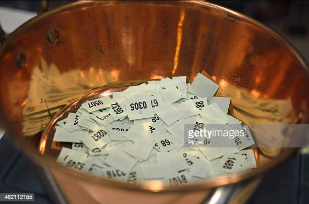 Lottery ticket in copper bowl