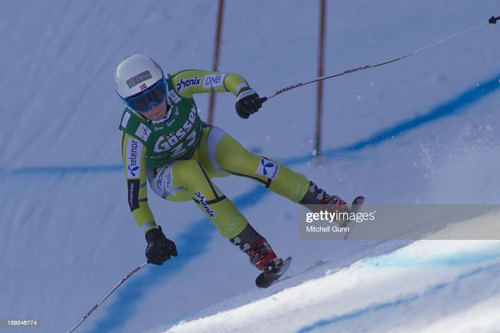 Lotte-Smiseth Sejersted of Norway races down the Kandahar course while competing in the Audi FIS Alpine Ski World Cup downhill race on January 12, 2013 in St Anton, Austria.