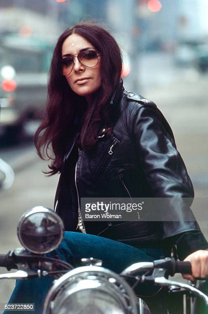 Lotti Golden a cult icon of the late 1960s best known for her 1969 debut album 'MotorCycle' sits on a bike New York NY 1969