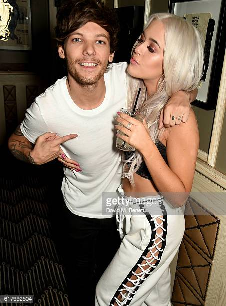 Lottie and Louis Tomlinson attend a party to launch her collection Nails Inc X Lips Inc Matchbox collection at Tape London on October 25 2016 in...