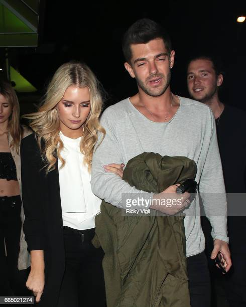 Lottie Moss and Alex Mytton seen on a night out with friends at Jack's restaurant on April 5 2017 in London England