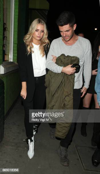 Lottie Moss and boyfriend Alex Mytton seen on a night out with friends at Jack's restaurant on April 5 2017 in London England