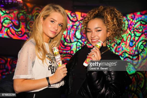 Lottie Moss and Ella Eyre attend the launch of the Skinnydip x MTV collection at Ballie Ballerson on November 20 2017 in London England