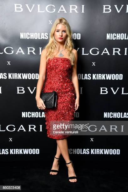 Lottie Moss attends a party celebrating 'Serpenti Forever' By Nicholas Kirkwood for Bvlgari on September 20 2017 in Milan Italy