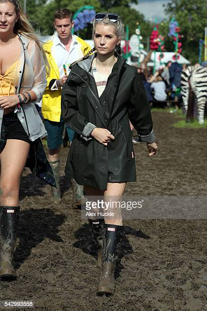 Lottie Moss attends the Glastonbury Festival at Worthy Farm Pilton on June 25 2016 in Glastonbury England