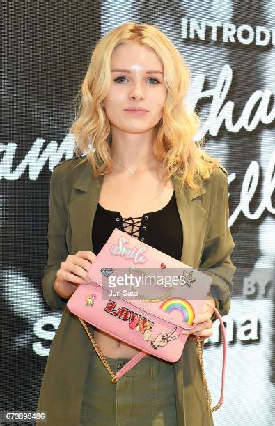 Lottie Moss visits Samantha Thavasa Digital Popup Omotesando Store on April 27 2017 in Tokyo Japan