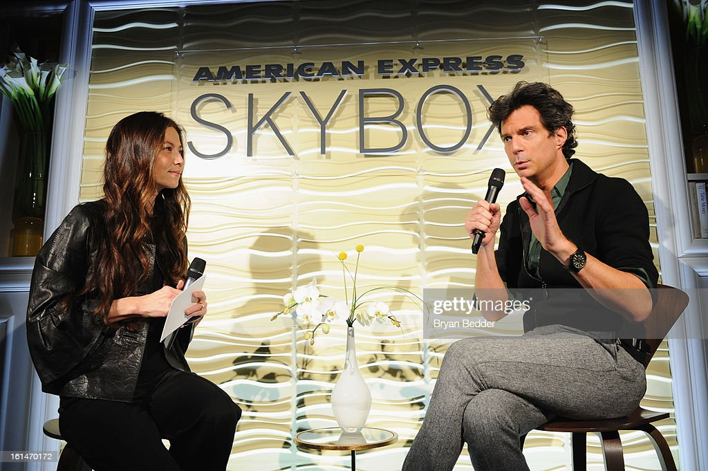 Lottie Oakley (L) and Adam Glassman speak onstage at the American Express Star Lounge at Mercedes Benz Fashion Week Fall 2013 at Lincoln Center on February 11, 2013 in New York City.