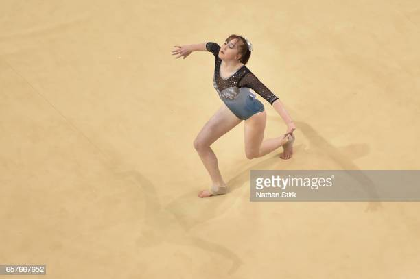 Lottie Smith of Huntingdon Olympic competes in the floor exercise during the British Gymnastics Championships at the Echo Arena on March 25 2017 in...
