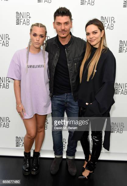 Lottie Tomlinson Mario Dedivanovic and Maria Hatzistefanis attend the Mario Dedivanovic Maria Hatzistefanis launch of NIPFAB Makeup with model Chloe...