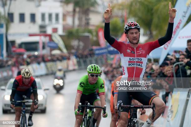 Lotto Soudal Belgian cyclist Tim Wellens celebrates as he crosses the finish line winning the last stage of the 'Ruta del Sol' tour a 1515 km ride...