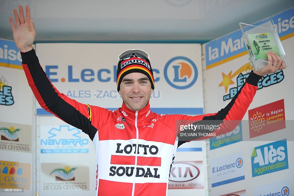 Lotto Soudal team's French cyclist <a gi-track='captionPersonalityLinkClicked' href=/galleries/search?phrase=Tony+Gallopin&family=editorial&specificpeople=6712360 ng-click='$event.stopPropagation()'>Tony Gallopin</a> celebrates on the podium after winning the fourth stage of the 45th edition of the Etoile de Besseges cycling race on February 7, 2015 in Laudun-l'Ardoise, southern France.