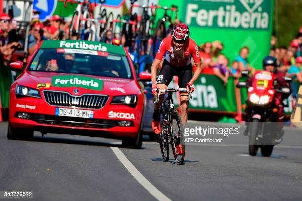 Lotto Soudal's Belgian cyclist Sander Armee sprints to win the 18th stage of the 72nd edition of 'La Vuelta' Tour of Spain cycling race a 169 km...