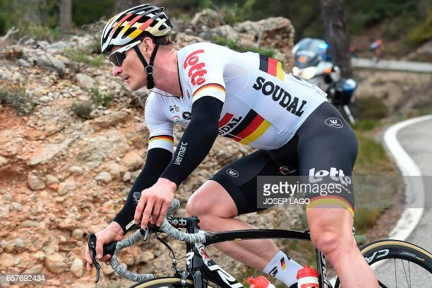 Lotto Soudal's German rider Andre Greipel rides on the sixth stage of the 97th Volta Catalunya 2017 a 1897km from Tortosa to Reus in Bot on March 25...