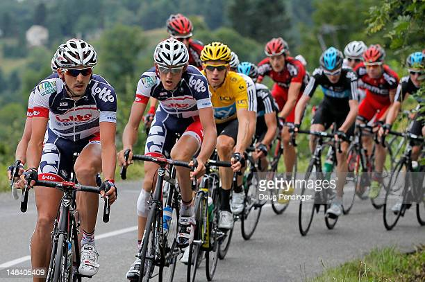 LottoBelisol pressures the group of the yellow jersey of Bradley Wiggins riding for Sky Procycling on the climd of the Mur de Peguere during stage...