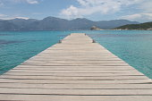 Lotu beach and pontoon in Agriates Desert, North Corsica