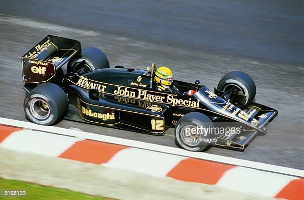 Lotus driver Ayrton Senna of Brazil in action during the F1 Belgian Grand Prix held on May 25 1986 at the SpaFrancorchamps circuit in Belgium