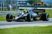 Lotus driver Ayrton Senna of Brazil in action during the F1 Brazilian Grand Prix held on April 7 1985 at the Jacarepagua circuit in Rio de Janeiro...