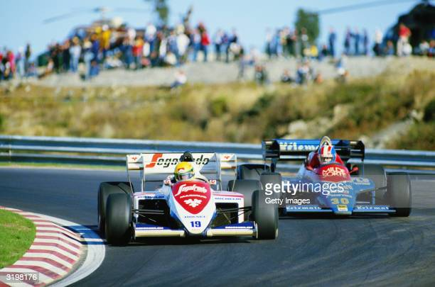Lotus driver Ayrton Senna of Brazil in action during the F1 Portuguese Grand Prix held on October 21 1984 at the Estoril circuit in Portugal