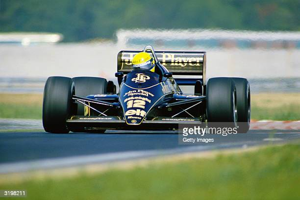 Lotus driver Ayrton Senna of Brazil in action during the F1 Hungarian Grand Prix held on August 10 1986 at the Hungaroring circuit in Hungary