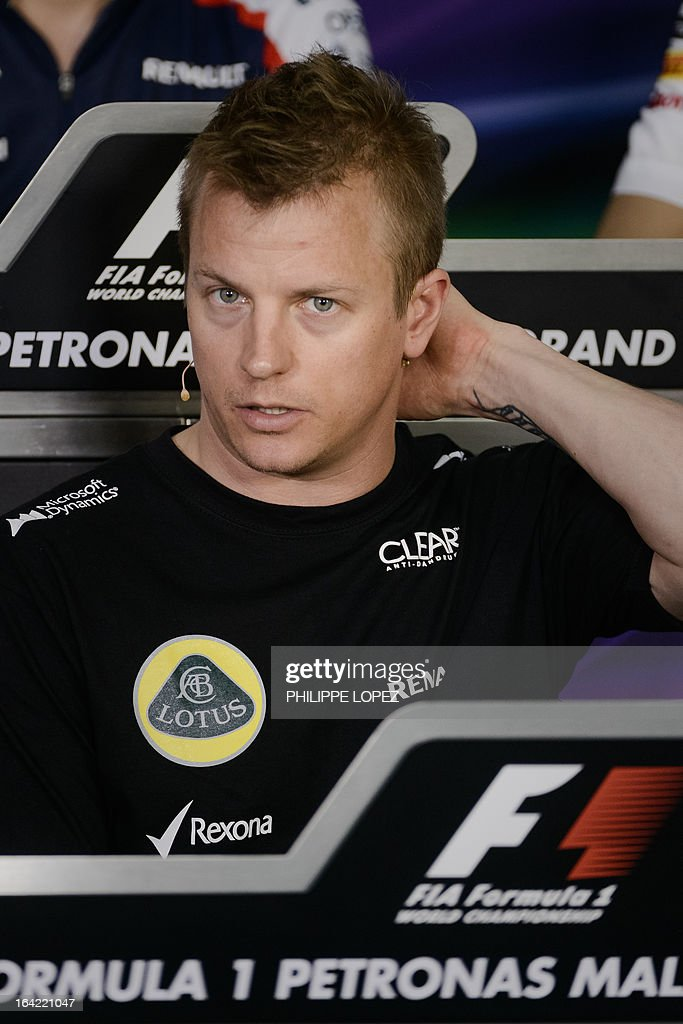 Lotus driver Kimi Raikkonen of Finland attends a press conference ahead of the Formula One Malaysian Grand Prix in Sepang on March 21, 2013. The Malaysian Grand Prix takes place on March 24. AFP PHOTO / Philippe Lopez