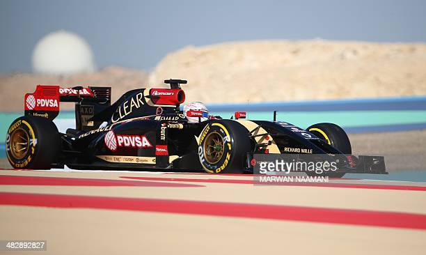 Lotus driver Romain Grosjean of France steers his car during the third practice session of the Formula One Bahrain Grand Prix at Bahrain's Sakhir...