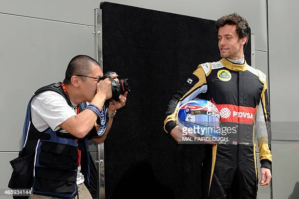 Lotus F1 Team's test driver Jolyon Palmer poses for the start of season driver portrait session ahead of the Australian Formula One Grand Prix in...