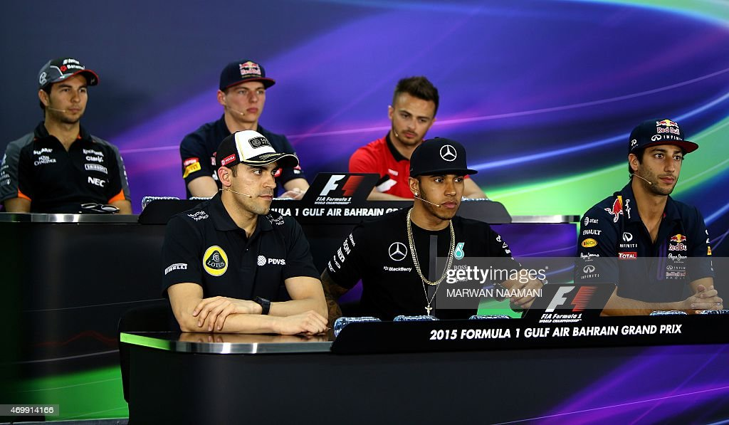Lotus F1 Team's Venezuelan driver <a gi-track='captionPersonalityLinkClicked' href=/galleries/search?phrase=Pastor+Maldonado&family=editorial&specificpeople=4842574 ng-click='$event.stopPropagation()'>Pastor Maldonado</a>, Mercedes AMG Petronas F1 Team's British driver <a gi-track='captionPersonalityLinkClicked' href=/galleries/search?phrase=Lewis+Hamilton&family=editorial&specificpeople=586983 ng-click='$event.stopPropagation()'>Lewis Hamilton</a>, Infinti Red Bull Team Australian driver <a gi-track='captionPersonalityLinkClicked' href=/galleries/search?phrase=Daniel+Ricciardo&family=editorial&specificpeople=6547569 ng-click='$event.stopPropagation()'>Daniel Ricciardo</a> and (From back L to R) Sahara Force India F1 Team's Mexican driver Sergio Perez, Scuderia Toro Rosso's Dutch driver <a gi-track='captionPersonalityLinkClicked' href=/galleries/search?phrase=Max+Verstappen&family=editorial&specificpeople=12813205 ng-click='$event.stopPropagation()'>Max Verstappen</a> and Manor Marussia F1 Team's British driver Will Stevens attend a press conference in Manama on April 16, 2015, ahead of the weekend's Bahrain Formula One Grand Prix at the Sakhir circuit. AFP PHOTO / MARWAN NAAMANI