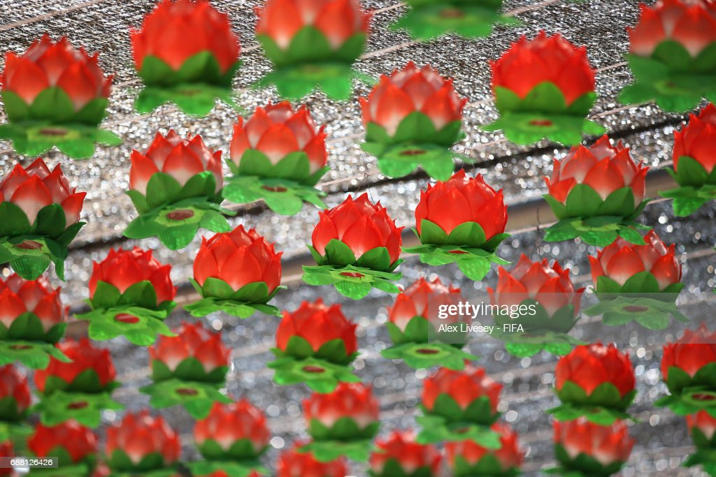 Lotus flowers made of paper are seen at the Donghaksa Temple in the east valley of Gyeryongsan Mountain at Gongju during the FIFA U-20 World Cup on May 25, 2017 in Daejeon, South Korea. The temple is the first and oldest existing academic institute for female monks.
