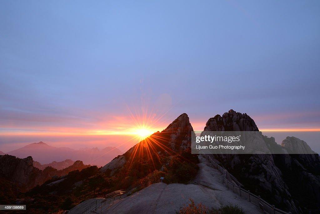Lotus Peak Sunrise, Huangshan Mountain : Stock Photo