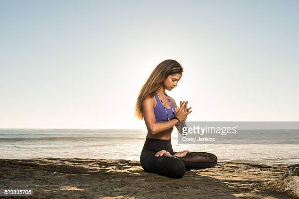 Lotus pose, Windansea beach, La Jolla, California