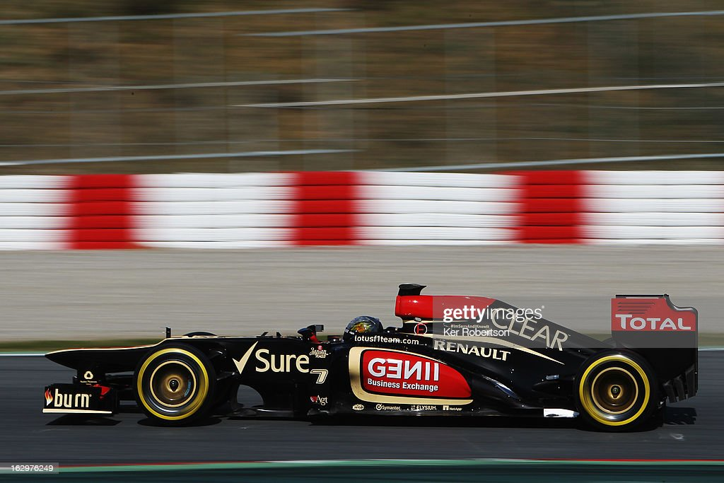 Lotus reserve driver Davide Valsecchi of Italy drives during day three of Formula One winter testing at the Circuit de Catalunya on March 2, 2013 in Montmelo, Spain.
