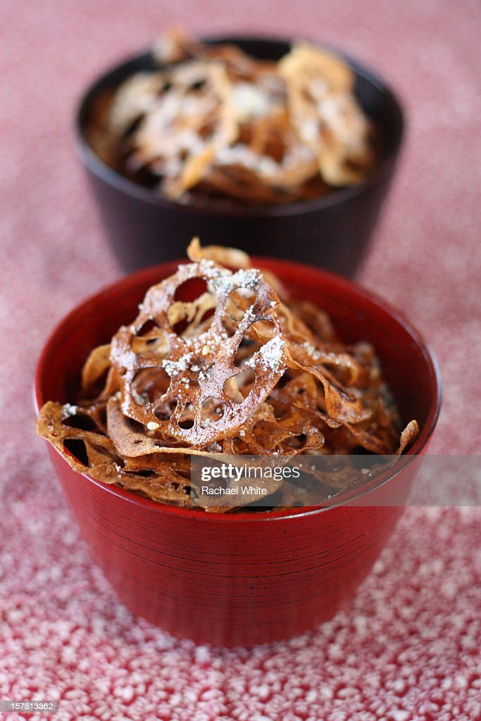 Lotus Root Chips with Nori-Sesame Salt : Stock Photo