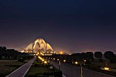 Lotus Temple Lit Up At Dusk