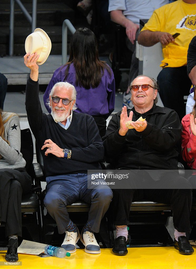 <a gi-track='captionPersonalityLinkClicked' href=/galleries/search?phrase=Lou+Adler+-+Record+Producer&family=editorial&specificpeople=228945 ng-click='$event.stopPropagation()'>Lou Adler</a> (L) and <a gi-track='captionPersonalityLinkClicked' href=/galleries/search?phrase=Jack+Nicholson&family=editorial&specificpeople=91177 ng-click='$event.stopPropagation()'>Jack Nicholson</a> attend an NBA playoff game between the San Antonio Spurs and the Los Angeles Lakers at Staples Center on April 26, 2013 in Los Angeles, California.