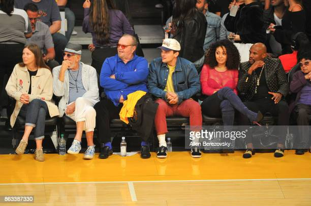 Lou Adler Jack Nicholson Ray Nicholson and Floyd Mayweather Jr attend a basketball game between the Los Angeles Lakers and the Los Angeles Clippers...