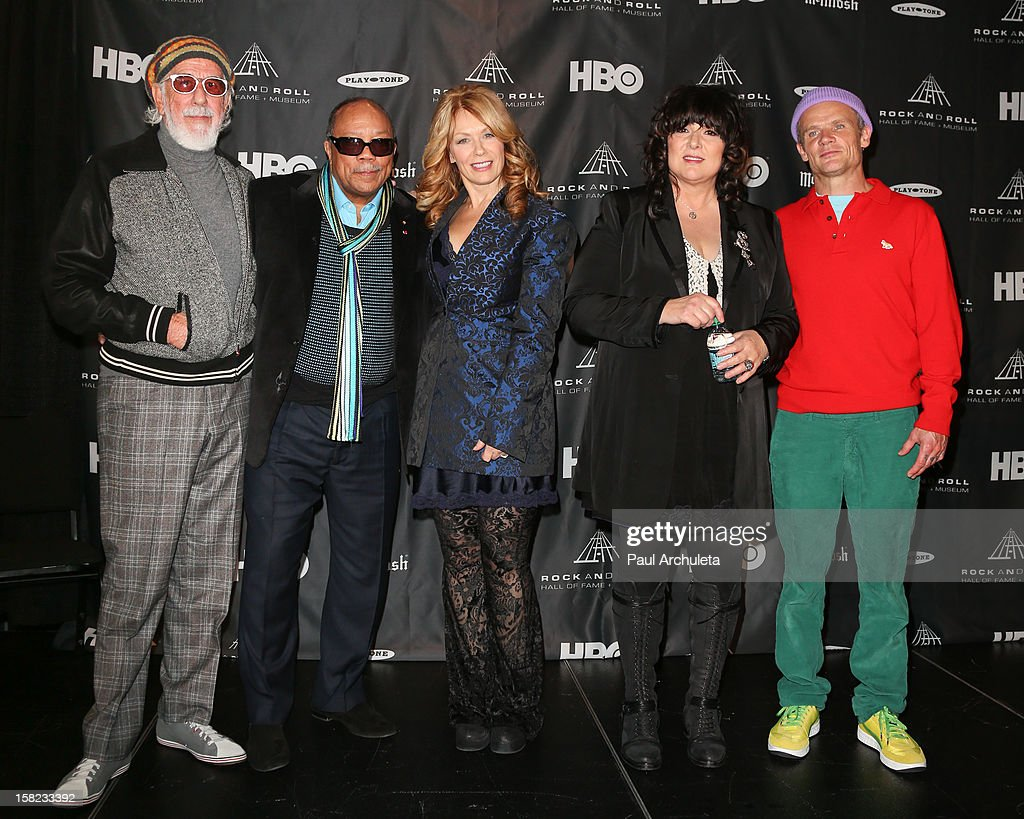 <a gi-track='captionPersonalityLinkClicked' href=/galleries/search?phrase=Lou+Adler+-+Record+Producer&family=editorial&specificpeople=228945 ng-click='$event.stopPropagation()'>Lou Adler</a>, <a gi-track='captionPersonalityLinkClicked' href=/galleries/search?phrase=Quincy+Jones&family=editorial&specificpeople=171797 ng-click='$event.stopPropagation()'>Quincy Jones</a>, Nancy Wilson, Ann Wilson and <a gi-track='captionPersonalityLinkClicked' href=/galleries/search?phrase=Flea+-+Musician&family=editorial&specificpeople=213900 ng-click='$event.stopPropagation()'>Flea</a> attend the announcements for the 2013 inductees to the 28th annual Rock And Roll Hall of Fame induction ceremony at Nokia Theatre LA Live on December 11, 2012 in Los Angeles, California.