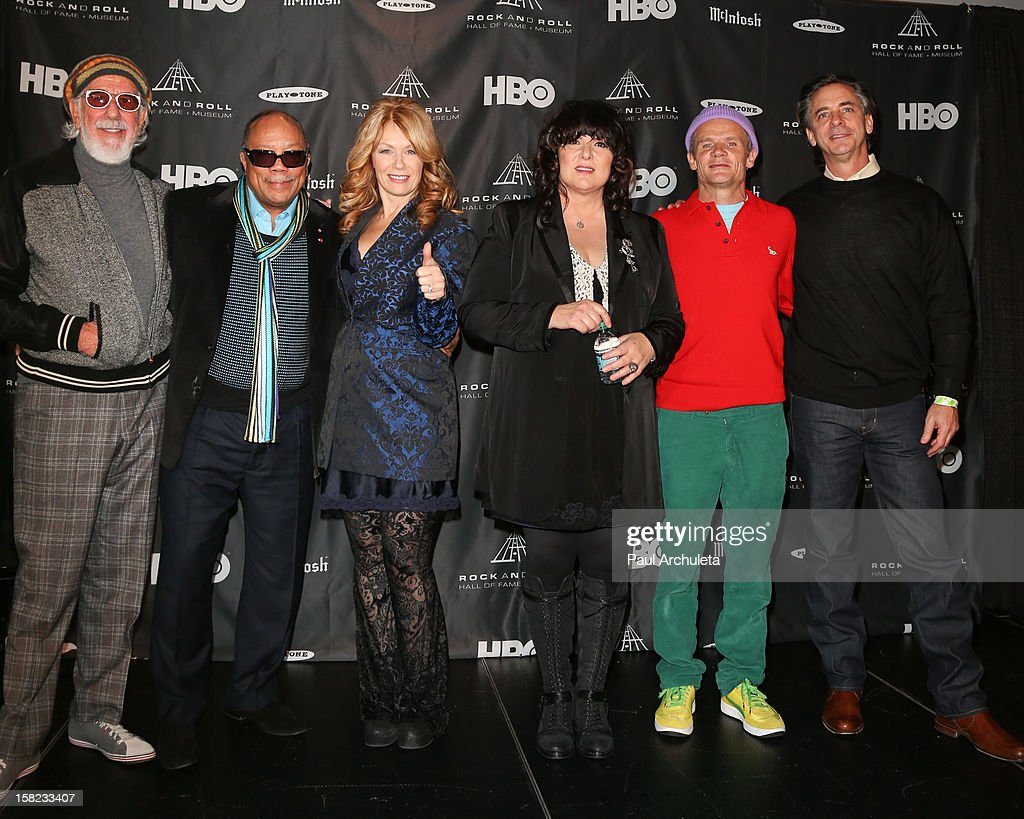 Lou Adler, Quincy Jones, Nancy Wilson, Ann Wilson, Flea and Joel Peresman attend the announcements for the 2013 inductees to the 28th annual Rock And Roll Hall of Fame induction ceremony at Nokia Theatre LA Live on December 11, 2012 in Los Angeles, California.