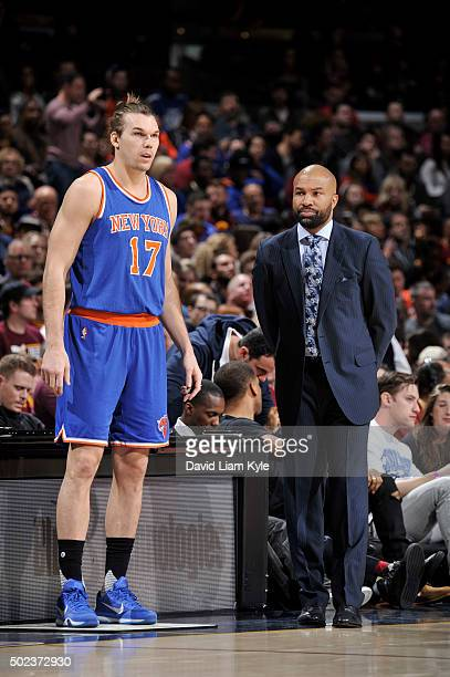 Lou Amundson and Derek Fisher of the New York Knicks are seen during the game against the Cleveland Cavaliers on December 23 2015 at Quicken Loans...