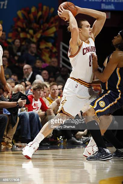 Lou Amundson of the Cleveland Cavaliers handles the ball against the Indiana Pacers during the game on November 29 2014 at Quicken Loans Arena in...